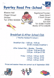 Byerley Primary School Club Poster